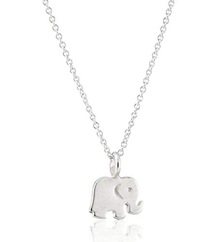 (Sterling Silver Elephant Pendant Necklace | 16 inch Delicate Good Luck Necklace Great Gift SSNK16-10S)