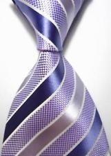 (jacob alex #38522 Classic Necktie Violet Blue Elegant Jacquard Woven Stripe Silk Man's Suits)