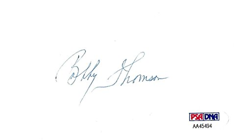 (Bobby Thomson Signed 3x5 Index Card COA Braves Giants Baseball Autograph - PSA/DNA Certified - MLB Cut Signatures)