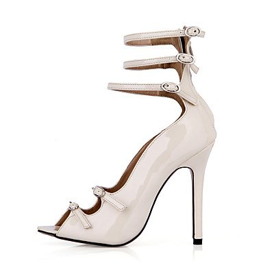 LvYuan Mujer-Tacón Stiletto-Confort-Sandalias-Oficina y Trabajo Vestido Fiesta y Noche-PU-Negro Marfil Ivory