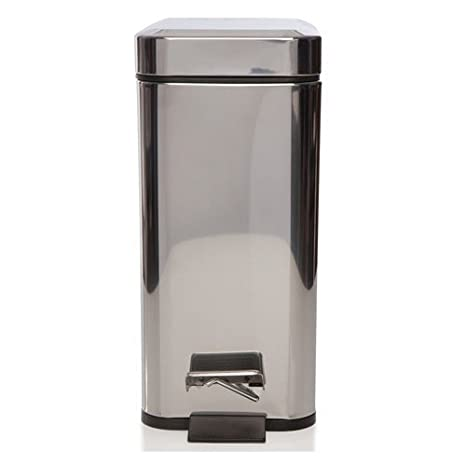 Sabichi Cubo Cuadrado de Basura para Cocina 172587, de Acero Inoxidable, Plata, 5 litros