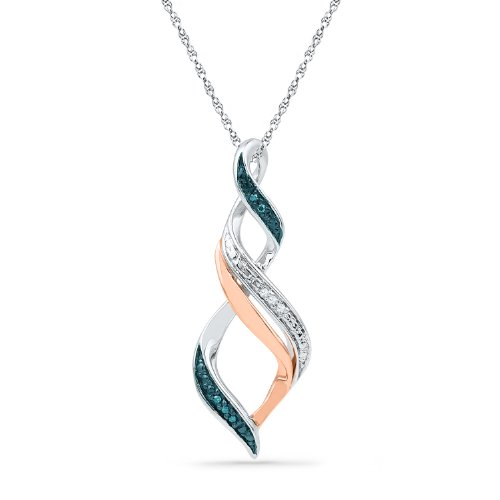 Pink Gold Diamond Pendant - Sterling Silver With 10KT Pink Gold Blue and White Round Diamond Fashion Pendant (0.03 cttw)