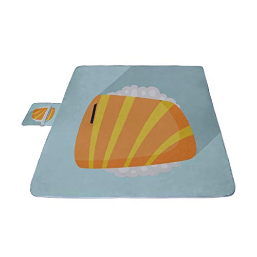 YKNFIS Cute Tasty Food Sushi Picnic Mat 57''(144cm) x79''(200cm) Picnic Blanket Beach Mat with Waterproof for Kids Picnic Beaches and Outdoor Folded Bag ()