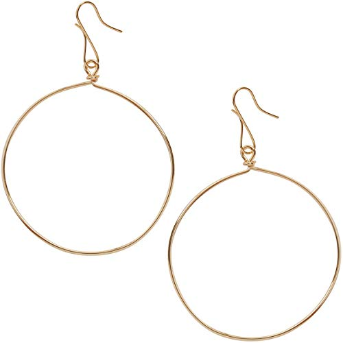 Humble Chic Circle Dangle Earrings - Hypoallergenic Geometric Thin Round Drop Hoops for Women, 18K Yellow, Gold-Electroplated