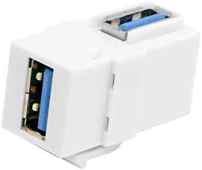 Computer Cables 2pcs 90 Degree Right Angled USB 3.0 A Female to A Female Extension Keystone Jack Coupler Adapter for Wall Plate Panel Cable Length White