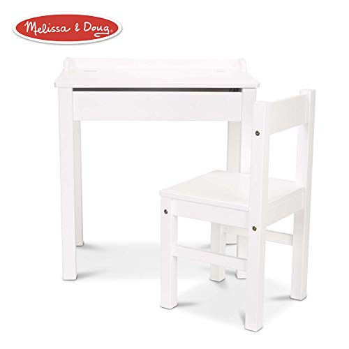 "Melissa & Doug Child's Lift-Top Desk & Chair (Sturdy Wooden Chair & Desk Set, Safety-Hinged Lid, White, 16.1"" H x 23.6"" W x 23.2"" L)"