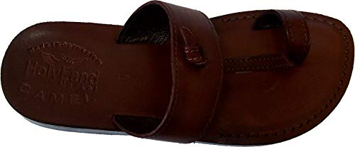 (Holy Land Market Unisex Genuine Leather Biblical Flip Flops (Jesus - Yashua) Nazareth Style - 38 M EU Brown)