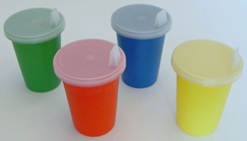Vintage Child's Set of 4 Tupperware Bell Tumblers Red, Green, Blue, Yellow 7 Ounces with Lids