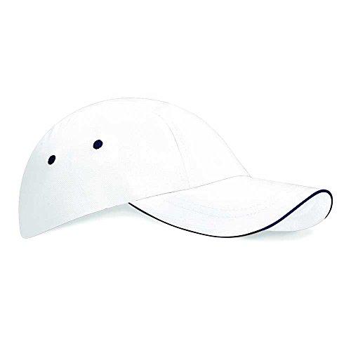 algodón 100 Unisex Gorra Visera Beechfield Navy deportiva White Verano Piscina tHw10qwY