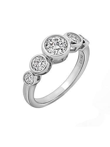 - Diamonbliss Sterling Silver 100 Facet Cubic Zirconia Bezel Set Ring, Size 8