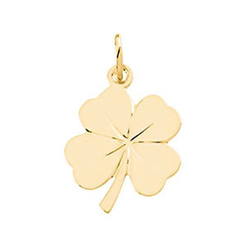 Gold Four Leaf Clover Charm (18X14 mm 4 Leaf Clover Charm in 14K Yellow Gold)