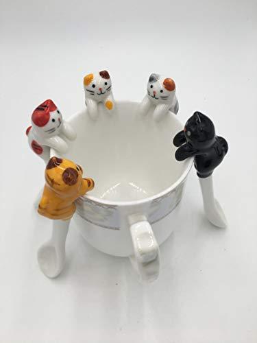 WZYJCK 5PCS per Set Cute Ceramic Coffee & Tea Spoon Mini Cat Short Handle Creative Spoon Drinking Tools Kitchen Gadget Flatware Tableware Ceramic Cat Mini Tea Set