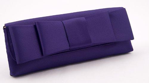 Borsa clutch, Hester Viola, in raso con fiocco