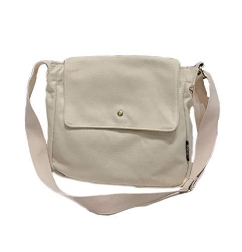 Canvas Messenger Bag for Women Vintage Crossbody Shoulder Purse Crossover Satchel Handbag Tote (white)