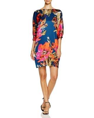Trina Turk Women's Naideen Fine Arts Floral Stretch Silk Georgette Dress, Multi, - Dress Stretch Georgette