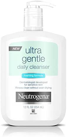 Neutrogena Ultra Gentle Daily Facial Cleanser for Sensitive Skin, Oil-Free, Soap-Free, Hypoallergenic & Non-Comedogenic Foaming Face Wash, 12 fl. oz