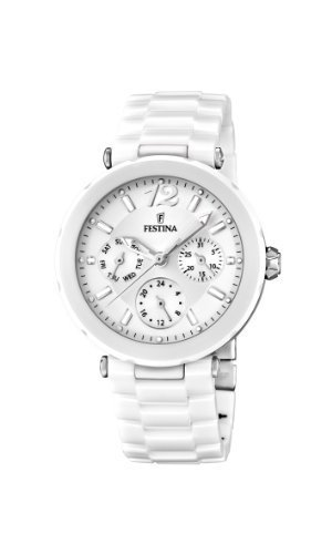Festina Women's Quartz Watch with White Dial Analogue Display and White Ceramic Bracelet F16641/1