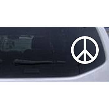 Peace sign symbol car window wall laptop decal sticker white 3in x 3in