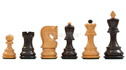 Old 1959 Russian Zagreb Staunton Chess Pieces in Lacquer Finish Ebonized Boxwood / Natural Boxwood - 3.8