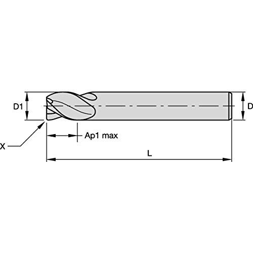 Straight Shank Carbide WIDIA Hanita 477709004LT VariMill I 4777 HP End Mill 4-Flute 9 mm Cutting Diameter 0.5 mm Chamfer TiAlN Coating RH Cut