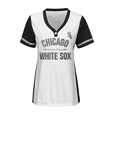 MLB Chicago White Sox Women's Team Name Rugged Competitor Pull Over Color Block Jersey, Large, White/Black