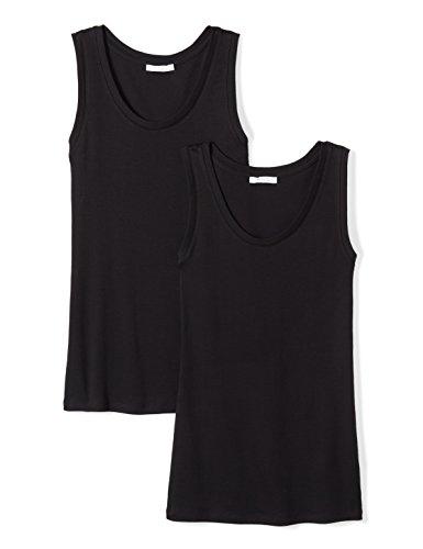 Daily Ritual Women's Midweight 100% Supima Cotton Rib Knit Sleeveless Shell Top, 2-Pack, M, Black/Black