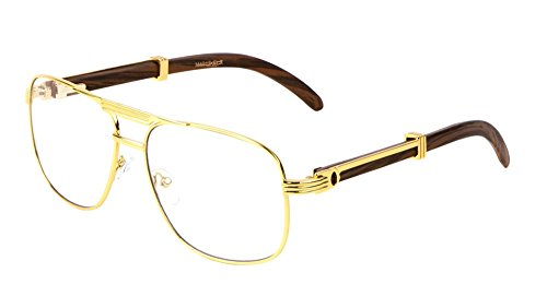 MyUV Retro Art Nouveau Vintage Style Clear Eye glasses Square Gold Frame Aviator Sunglasses (Gold-Clear, - Aviator Eyeglasses Style