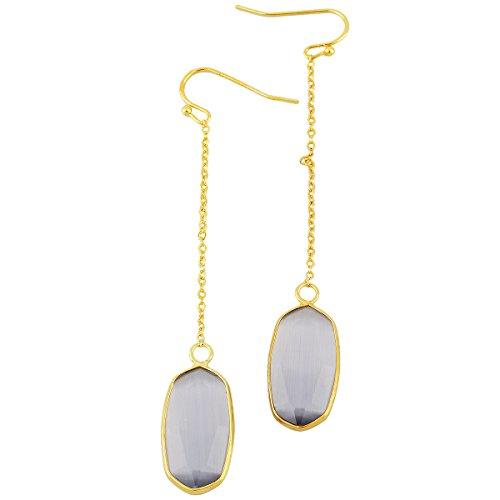 SUNYIK Oval Faceted Stone Long Drop Dangle Earrings for Women,Grey Cat's Eye Stone Cat Eye Oval Earrings