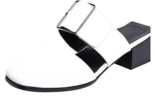 Calaier Mujer Caonce Bloquear 4.5CM Cuero Ponerse Zuecos Zapatos Blanco