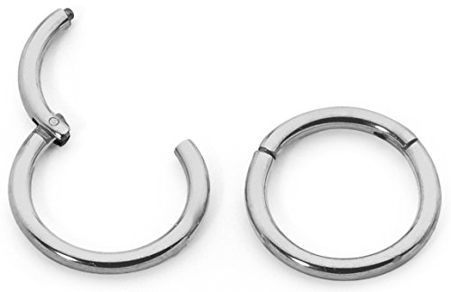 1 Pair Titanium 18G (Thin) Hinged Segment Ring Hoop Sleeper Earrings Body Piercing - 9mm Titanium