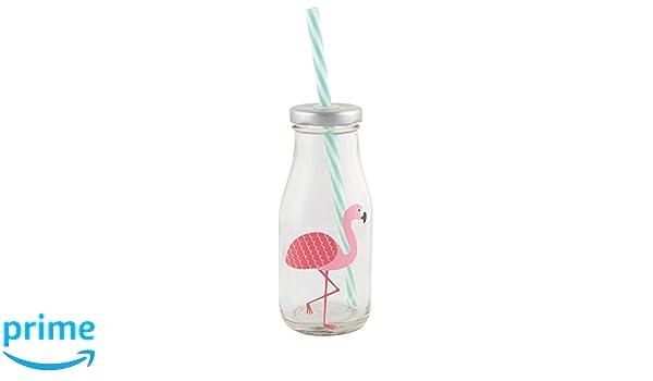 Botella de cristal con flamenco rosa. Pajita rígida incluye: Amazon.es: Hogar