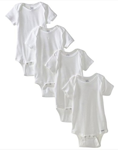 4 Pk. Gerber Short Sleeve Onesie Size 2t / 24mo. ~ Solid White