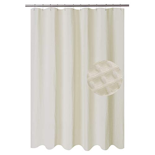 Barossa Design Long Fabric Waffle Weave Shower Curtain 78 inch Height, Hotel Collection, 230GSM Heavy Weight, Water Repellent, Machine Washable, Cream, 71x78