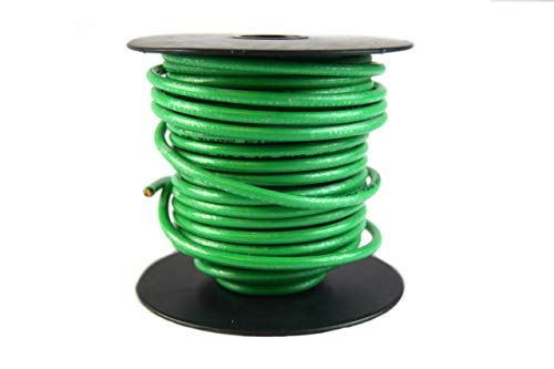 Grounding Wire Copper - 10 GA AWG 50 Feet Solid Copper Green Ground Wire UL Listed Satellite Cable