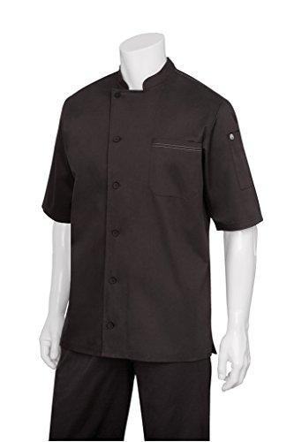 Chef Works Men's Valais V-Series Chef Coat, Black, X-Large