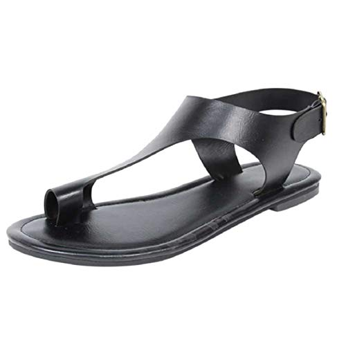 Women Fashion Casual Ring Toe Flat Sandals T Strap Flip Flops Vintage Faux Leather Thong Sandals by Lowprofile Black