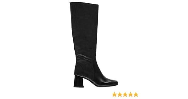 dbf84c9544cd2 Jeffrey Campbell Women's Gogo-Girl Knee High Black Leather Stacked Block  Heel Dress Boot