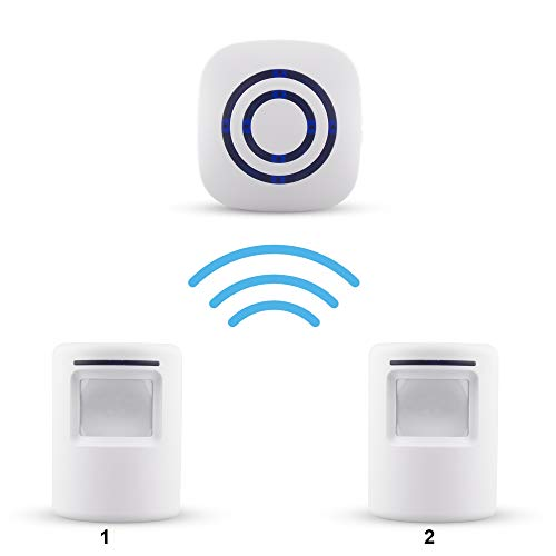 Xcellent Global Wireless Driveway Alert Infrared Sensor Home Security Door Bell Alarm with 1 Plug-in Receiver and 2 PIR Motion Sensor Detector and 38-Ringtones - Motion Sensing Alarm
