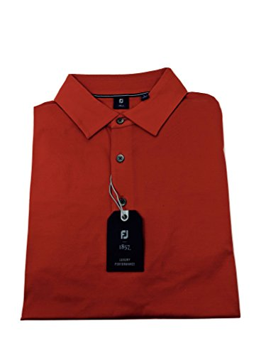FootJoy 1857 Short Sleeve Smooth Placket Golf Shirt, Red, L (Rain Short Footjoy Sleeve Shirt)