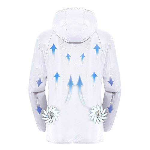 Women Men Summer Cooling Jacket,Double Fan with Battery for Workwear Sun Protective Outdoor Air-Conditioned Clothes White
