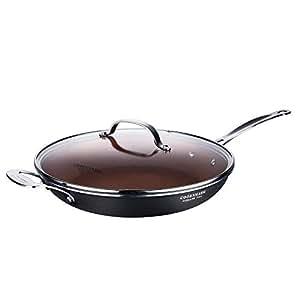 COOKSMARK Sartén Antiadherente Inducción de 30cm Sartén de Cerámica con Tapa de Vidrio y Mango de Acero Inoxidable Color Cobre Apta para Lavavajillas y ...