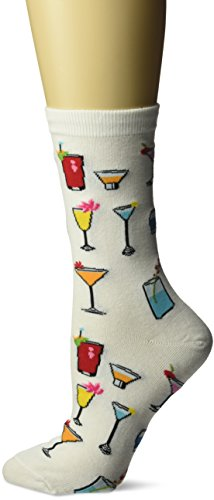Tropical Alcohol Drinks - Hot Sox Women's Food and Drink Novelty Casual Crew Socks, Tropical (White), Shoe Size: 4-10