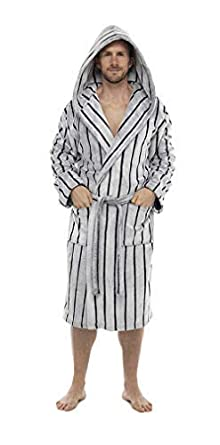 0940468638 Wolf   Harte Mens Striped Supersoft Hooded Fleece Dressing Gown Robe (M L
