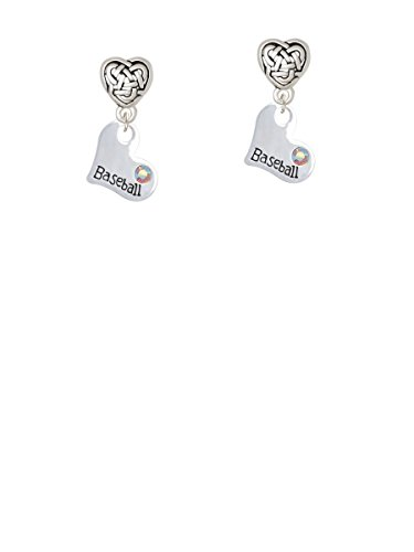 (Heart with ''Baseball'' and AB Crystal - Celtic Heart Earrings)