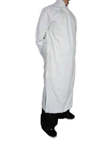 100% Coton Manteau Blanc Qi Gong Kung Fu Tenue Tai Chi Col Mao Sur Mesure#124