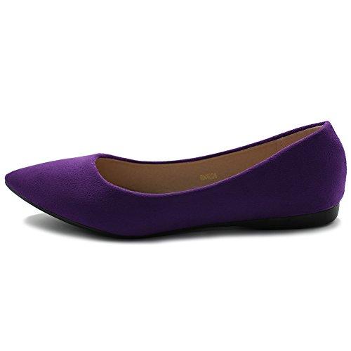 Light Multi Color Shoe Purple Ollio Ballet Comfort Womens Flat Faux Suede BqO71F