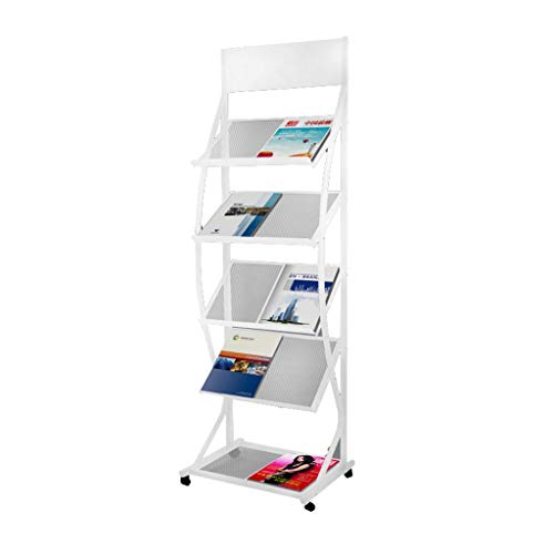 (Office Reading Rack, Barbershop Beauty Store Magazine Rack, Iron Floor Advertising/Single Page/Book Display Stand)