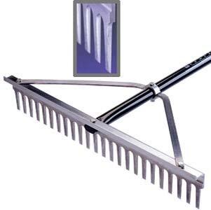 Midwest Rake 20024 24'' Head Chisel Tooth Rake, 66'' Blue Aluminum Handle