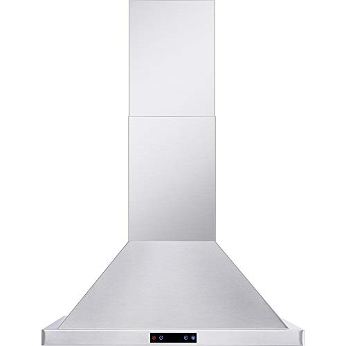 CAVALIERE Wall Mounted 30″ Inch Range Hood | Brushed Stainless Steel Finish | 860 CFM | 4 Speed Control Touch Panel | Baffle Filters