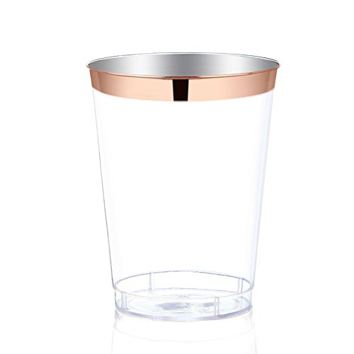 WDF 9 oz Rose Gold Plastic Cups -Disposable Clear Plastic Cups With Rose Gold Rim-Hard Party/Wedding Plastic Tumblers 60Pack (Rose Gold (Bridal Rose Cup)